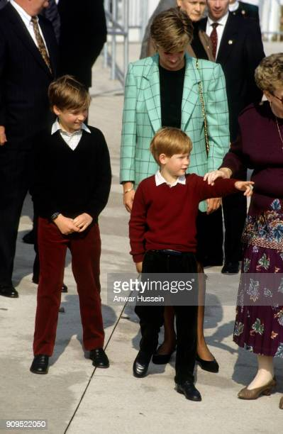 Diana Princess of Wales Prince William and Prince Harry meet the public during a visit to visit to Niagara on October 28 1991 in Niagara Canada