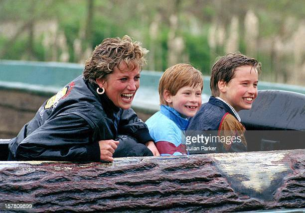 Diana Princess Of Wales Prince William And Prince Harry Visit 'Thorpe Park' Amusement Park