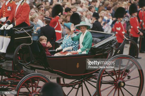 Diana, Princess of Wales , Prince William and the Queen Mother in a carriage during the Trooping the Colour ceremony at Buckingham Palace in London,...