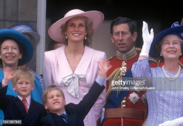 Diana, Princess of Wales, Prince William, Prince Harry, Queen Elizabeth II, Princess Margaret, Prince Charles, Prince of Wales, Trooping the Colour,...