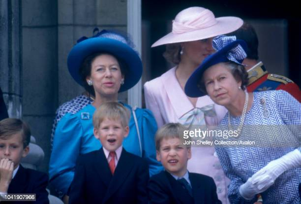 Diana, Princess of Wales, Prince William, Prince Harry, Queen Elizabeth II, Princess Margaret, Trooping the Colour, 17th June 1989.