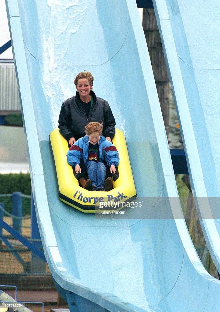 Diana, William & Harry At Thorpe Park : News Photo