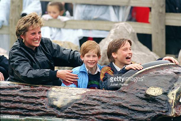 Diana Princess Of Wales Prince William Prince Harry Visit The 'Thorpe Park' Amusement Park