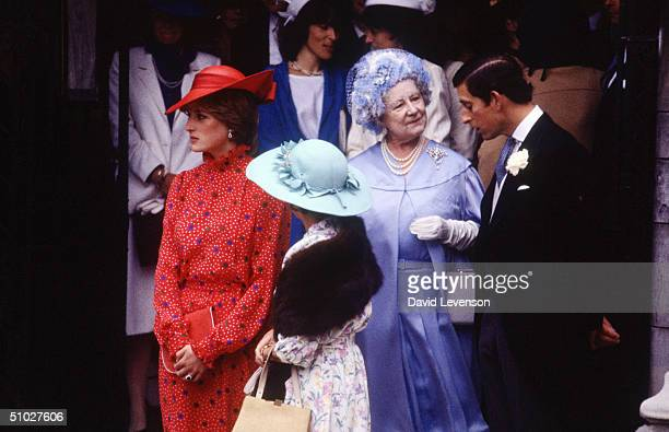 Diana, Princess of Wales, Princess Margaret, the Queen Mother and Prince Charles leaving the wedding of Nicholas Soames on June 4, 1981 at St....