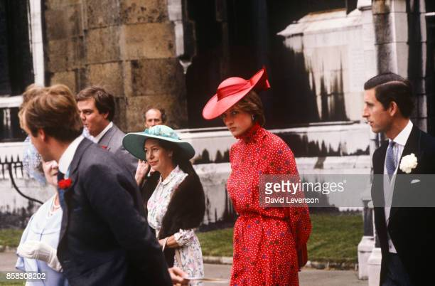 Diana Princess of Wales Princess Margaret the Queen Mother and Prince Charles leaving the wedding of Nicholas Soames on June 4 1981 at St Margarets...