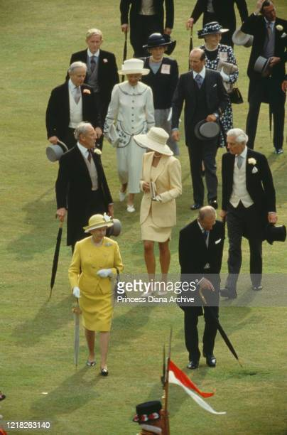 Diana, Princess of Wales , Queen Elizabeth II, Prince Philip, and the Duke and Duchess of Kent at the Buckingham Palace Garden Party, London, 15th...