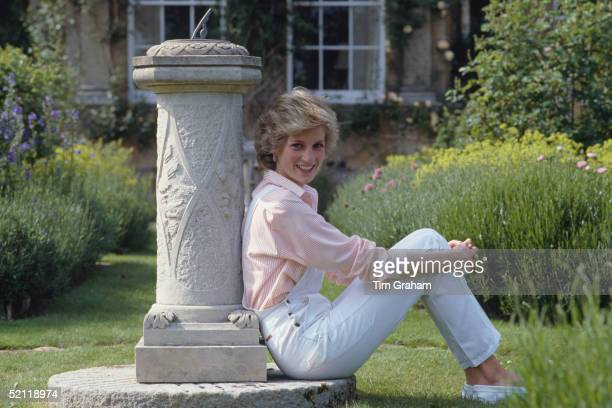 Diana Princess Of Wales Relaxed By The Sundial At Her Home Highgrove House