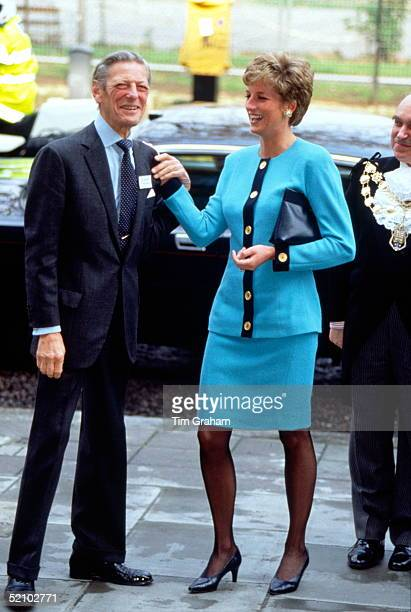 Diana Princess Of Wales Sharing A Joke With The Honourable Angus Ogilvy As They Arrive For Their Visit To The Imperial Cancer Research Fund At...