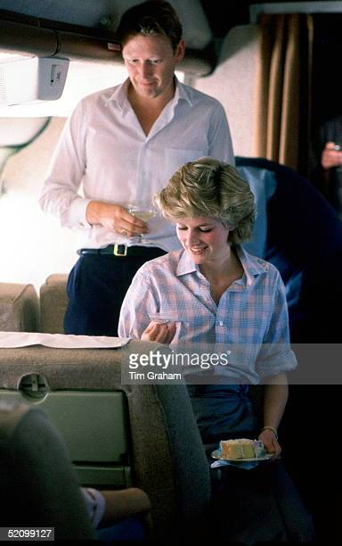 Diana, Princess Of Wales, Sitting On Board A Royal Australian Air Force Plane Which Is Refueling In Fiji Before Continuing To Australia. The Princess...