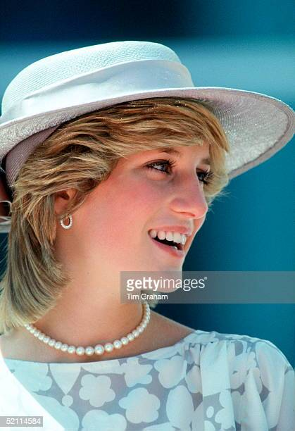Diana Princess Of Wales Smiling During The Inauguration Of New Police Headquarters Part Of Her Official Tour Of Canada