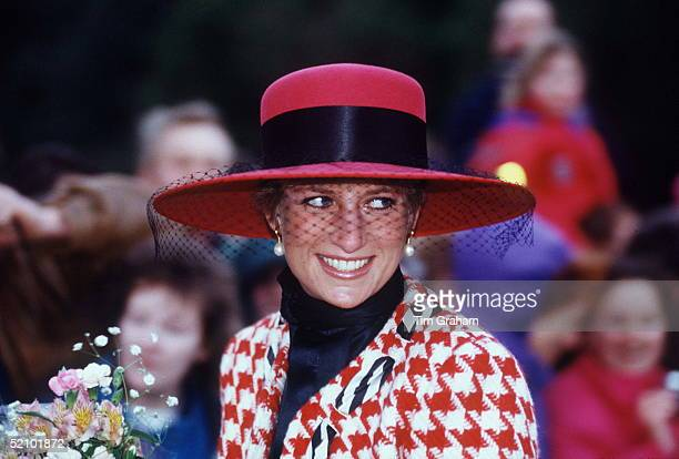 Diana Princess Of Wales Smiling On A Walkabout After Attending Christening Service At Sandringham Church The Princess Is Wearing A Houndstooth Red...