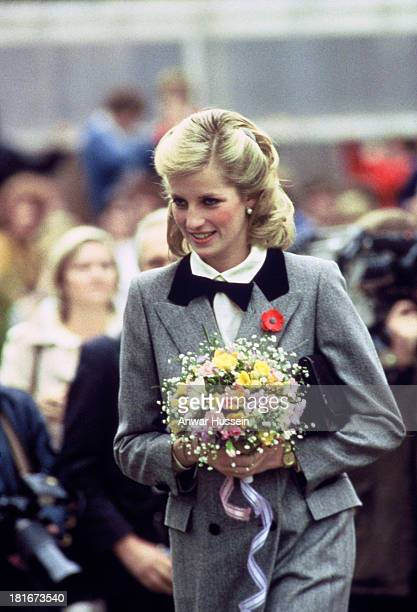 Diana Princess of Wales sports a new hairstyle and wears an outfit described as 'A Teddy Boy Look' as the visits Barnados Charity on November 08 1984...