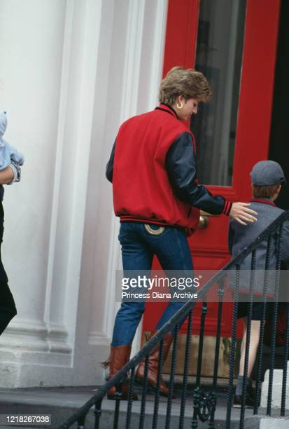 Diana, Princess of Wales takes her son Prince Harry to Wetherby School in London, April 1992.