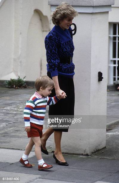 Diana Princess of Wales takes her son Prince William to kindergarten for the first time