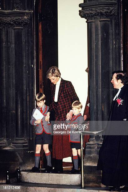 Diana Princess of Wales takes her sons Prince William and Prince Harry to the Christmas Carol Concert at Wetherby School on December 13 1989 in...