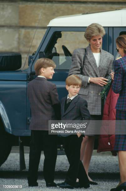 Diana, Princess of Wales takes her sons William and Harry to the Badminton Horse Trials in Gloucestershire, UK, May 1991.