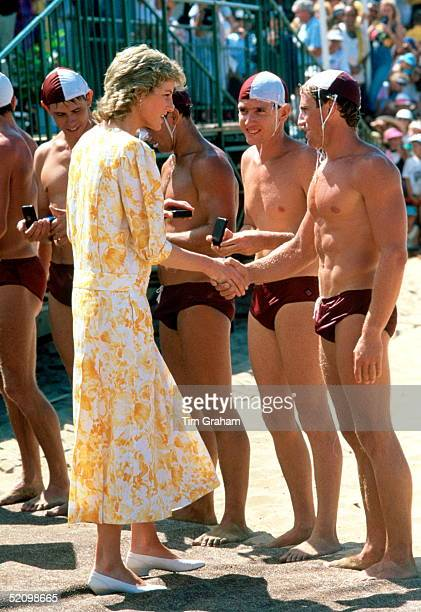 Diana Princess Of Wales Talking As She Presents Prizes To The Winning Team Of Lifeguards At The Central Coast Surf Carnival At Terrigal Beach