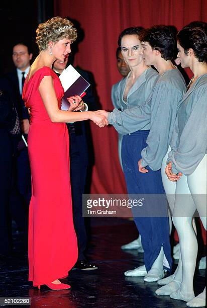 Diana, Princess Of Wales, Talking To Ballet Dancers From The English National Ballet After Watching Their Gala Performance In Budapest