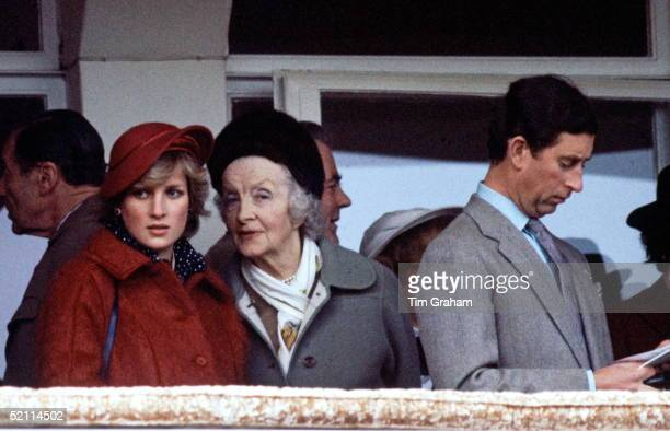 Diana Princess Of Wales Talking To Her Grandmother Ruth Lady Fermoy During The National Hunt Festival At Cheltenham Prince Charles Is Beside Them...