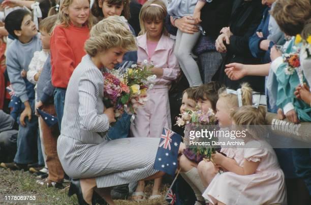 Diana Princess of Wales talking to local children during a visit to Macedon Australia November 1985