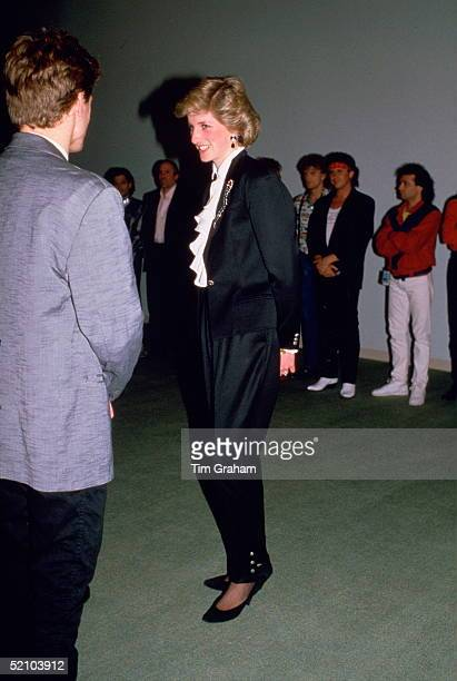 Diana Princess Of Wales Talking To Pop Star Bryan Adams During A Gala Entertainment Evening At The Expo 86 Theatre The Princess Is Wearing A Jasper...