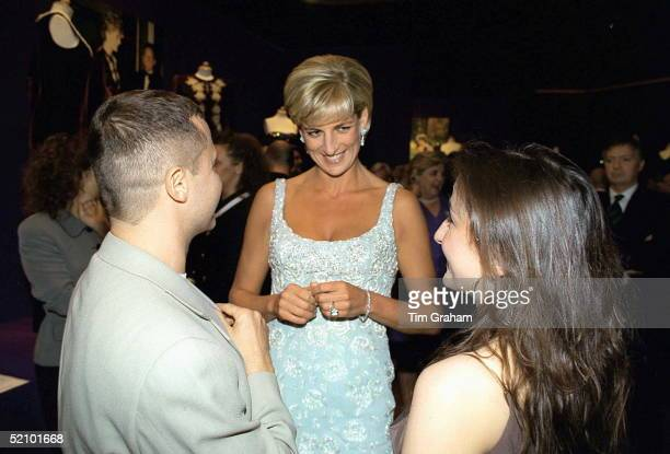 Diana Princess Of Wales Talking With Dress Designer Jacques Azagury At A Private Viewing And Reception At Christies In Aid Of The Aids Crisis Trust...