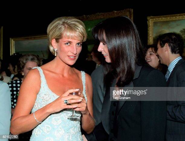 Diana Princess Of Wales Talking With Her Friend Dress Designer Catherine Walker At A Private Viewing And Reception At Christies In Aid Of The Aids...