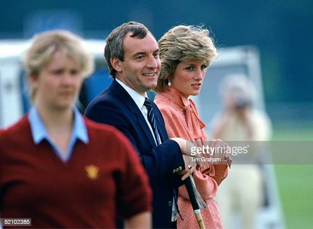 Diana Princess Of Wales Talking With Her Police Bodyguard Barry Mannakee Whilst Watching A Match At Guards Polo Clubsmiths Lawnwindsor