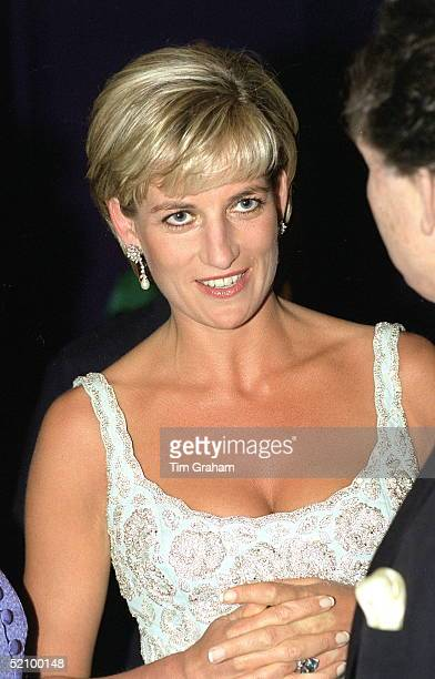 Diana Princess Of Wales Talking With Lord Hindlip At The Launch Party Of The 'dresses' Auction At Christie's In London In Aid Of The Aids Crisis...