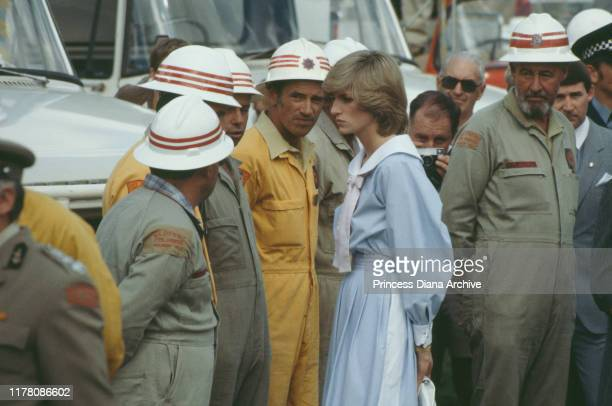 Diana Princess of Wales talks to firefighters battling the bush fires around Adelaide Australia March 1983
