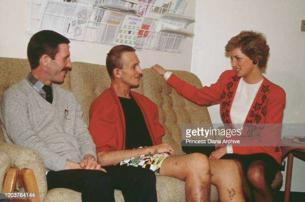 Diana, Princess of Wales talks to patients in the AIDS unit of St Mary's Hospital, London, December 1989.