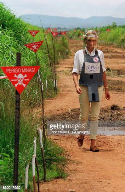 Diana Princess of Wales touring a minefield in body armour to see for herself the carnage mines cause during her visit to Angola