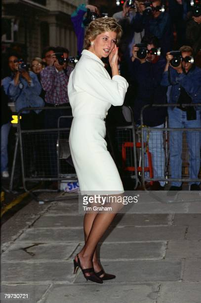 Diana Princess of Wales Vice President of the British Red Cross Society and Patron of the British Red Cross Youth arrives for a reception at...