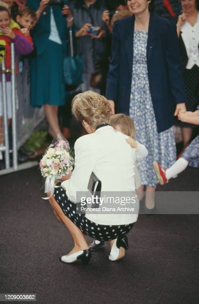 Diana Princess of Wales visit the Marlow Health Centre in Marlow Buckinghamshire UK June 1991 She is wearing a suit by Paul Costelloe