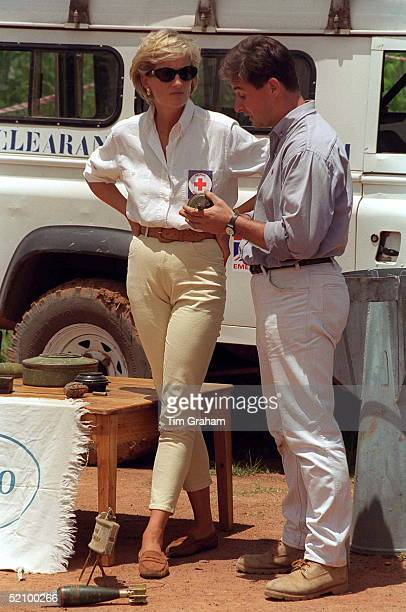 Diana, Princess Of Wales, Visiting A Mined Area In Huambo, Angola, Currently Being Cleared By The Charity Halo