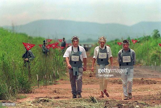 Diana Princess Of Wales Visiting A Mined Area In Huambo Angola Currently Being Cleared By The Charity Halo