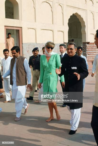 Diana Princess of Wales visiting Badshahi Mosque in Lahore Pakistan She walks barefoot and wears a headscarf