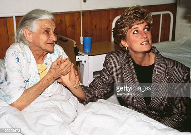 Diana Princess of Wales visiting the Nagyatad refugee camp during an official tour of Hungary 24th March 1992 The camp houses refugees from the...