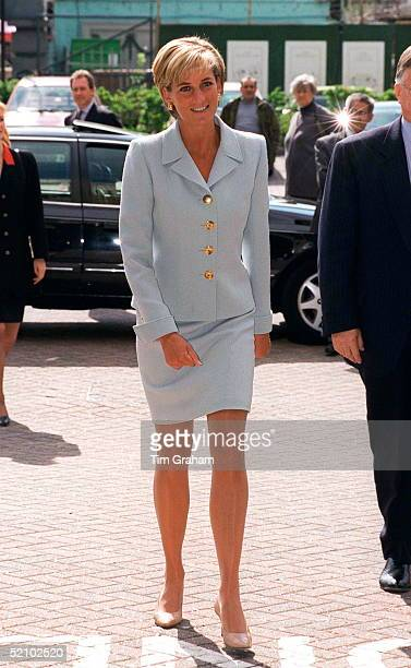 Diana Princess Of Wales Visiting The Royal Brompton Hostpital To Meet Young Cystic Fibrosis Sufferers Princess Diana Is Wearing A Pale Blue Suit...