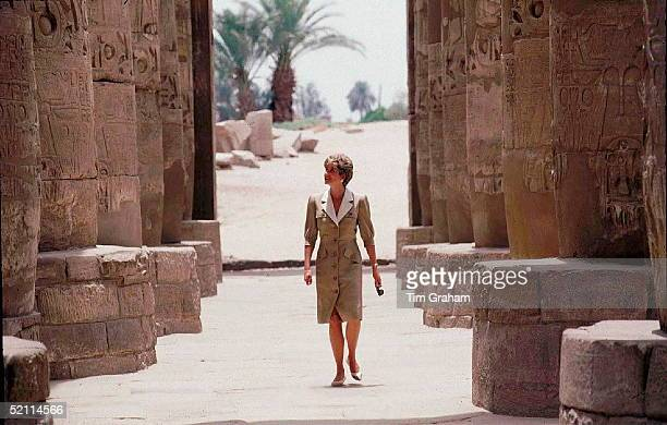 Diana, Princess Of Wales, Visiting The Temple Of Karnak, Egypt.