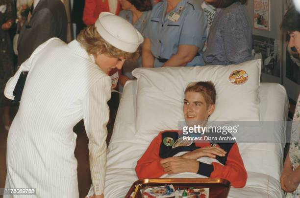 Diana Princess of Wales visits a children's hospital in Melbourne Australia October 1985