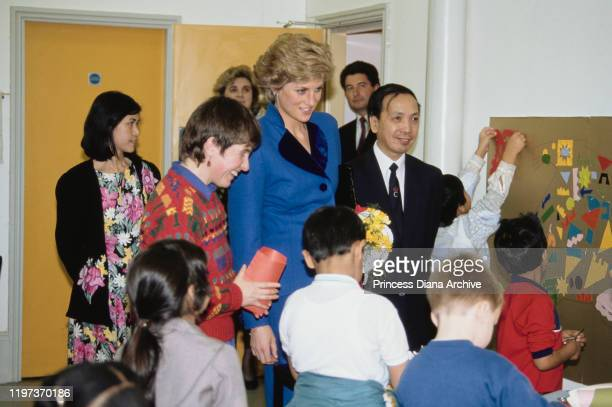 Diana Princess of Wales visits a Chinese Arts Centre in Manchester UK 17th January 1990