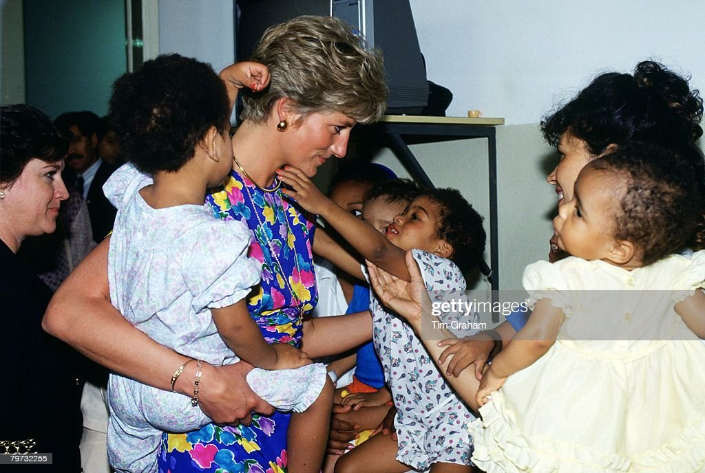 Diana, Princess of Wales visits a hostel for abandoned children in Sao Paulo, Brazil, many of them HIV positive or suffering from AIDS