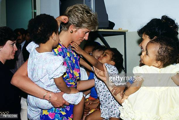 Diana Princess of Wales visits a hostel for abandoned children in Sao Paulo Brazil many of them HIV positive or suffering from AIDS