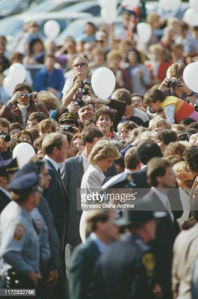 Diana, Princess of Wales visits a JC Penney store in Springfield, Virginia, USA, 11th November 1985.