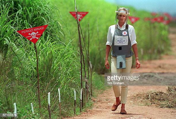Diana Princess Of Wales Visits A Minefield Being Cleared By The Charity Halo In Huambo Angola Wearing Protective Body Armour And A Visor