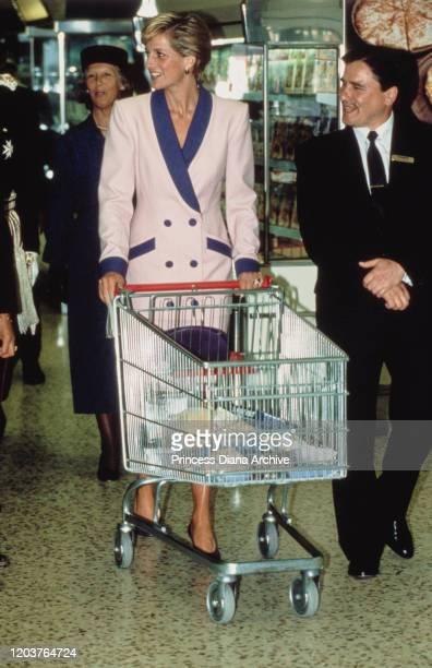Diana Princess of Wales visits a Tesco supermarket in Solihull UK September 1990