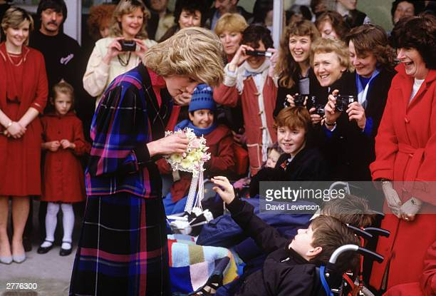 Diana Princess of Wales visits Dr Barnado's head office on February 5 1985 in Barkingside Ilford Essex