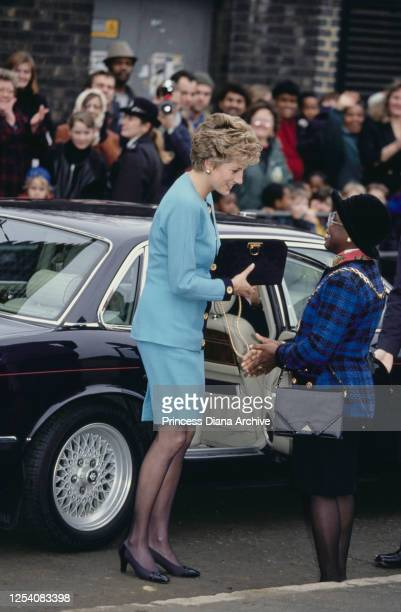 Diana, Princess of Wales visits Elephant and Castle in London, 10th December 1993.