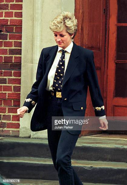 Diana Princess of Wales visits her brother Charles Althrop's new baby at St Marys Hospital Paddington in West London on March 15 in London United...